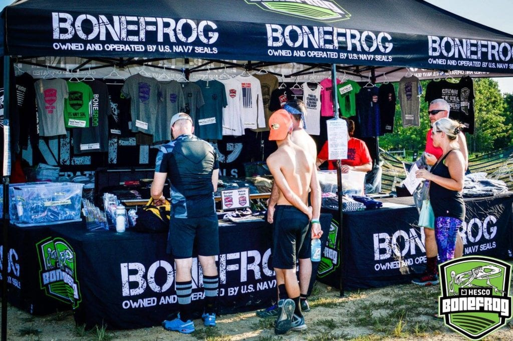 Bonefrog's merch tent - stocked with quality offerings