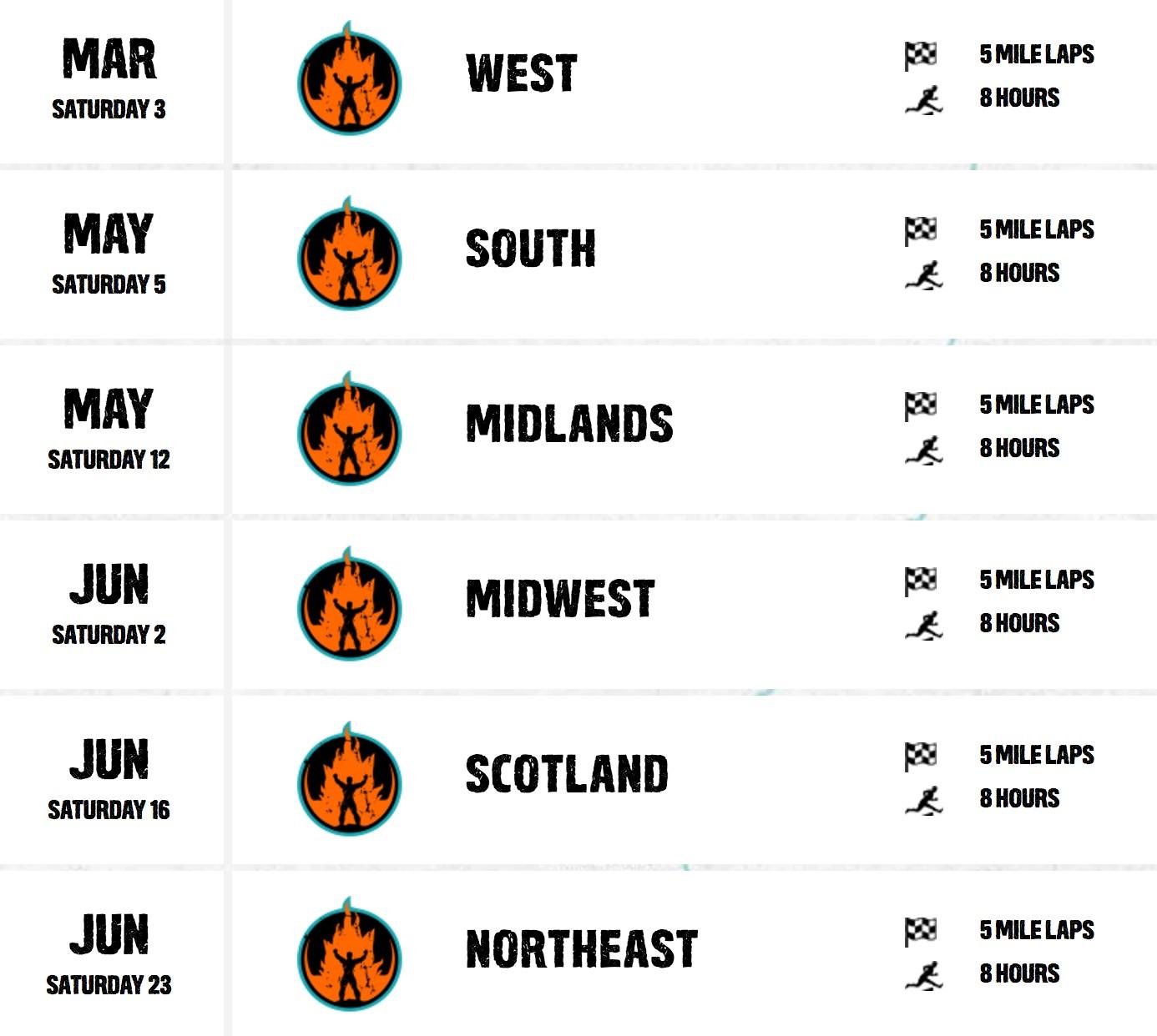 2018 Toughest Mudder Schedule